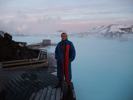 Nitsirk at Blue Lagoon in Norma Kamali sleeping bag coat
